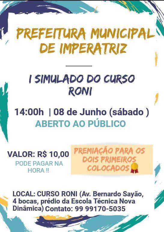 Curso Roni lança neste Sábado o 1º Simulado Prefeitura de Imperatriz-MA